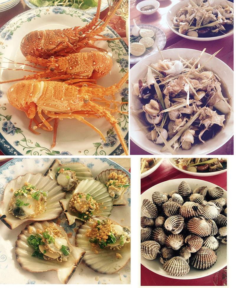 Gỏi cá Mai, sò huyết, cháo hàu ở đầm Ô Loan