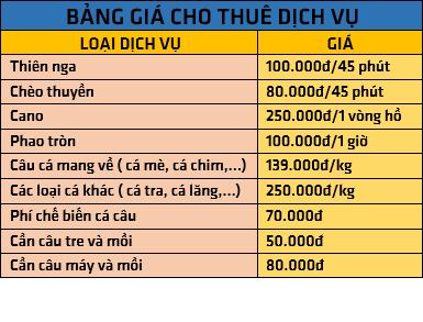 Bảng giá dịch vụ Hồ Kênh Hạ Nha Trang